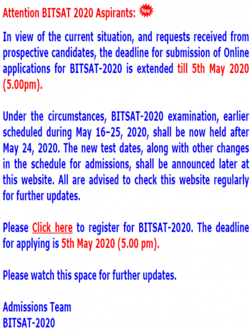 BITSAT 2020 official notification