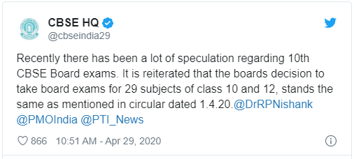 CBSE TWEET REGARDING PENDING EXAMINATION (29.04.2020)