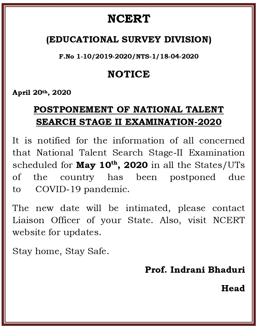 POSTPONEMENT OF NATIONAL TALENT SEARCH STAGE II EXAMINATION-2020
