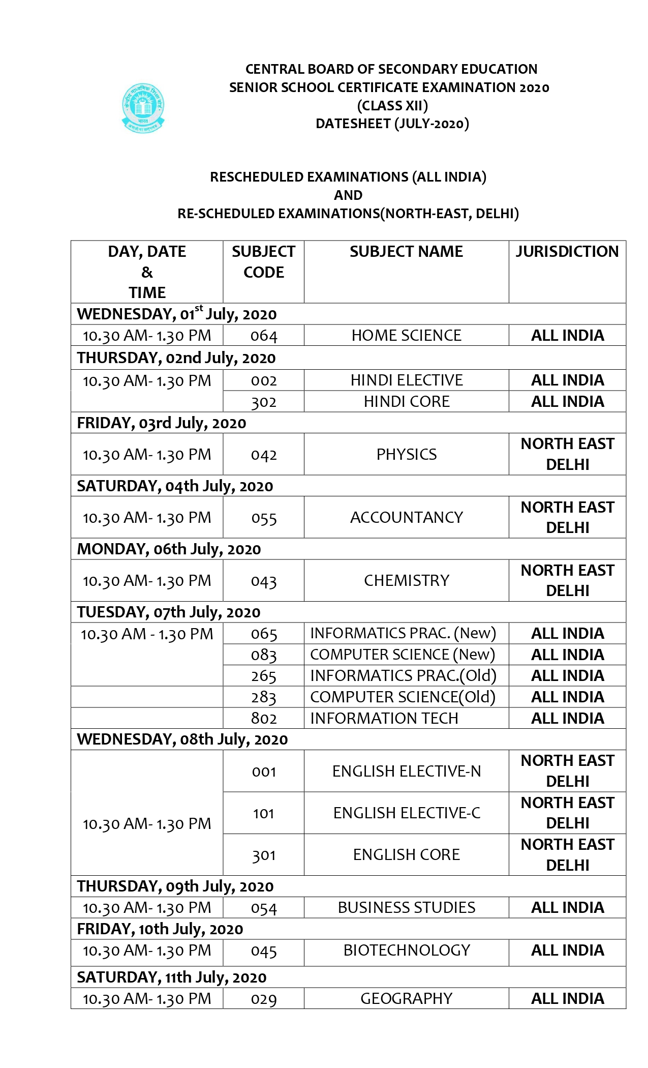 CENTRAL BOARD OF SECONDARY EDUCATION SECONDARY SCHOOL EXAMINATION 2020 date sheet class 12th
