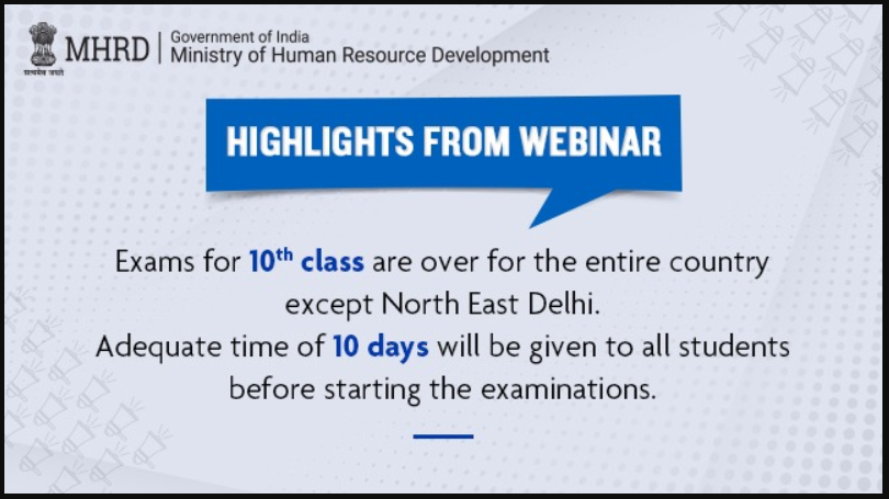 HRD Ministry announces end of Class 10 board exams all over India except for North-East Delhi