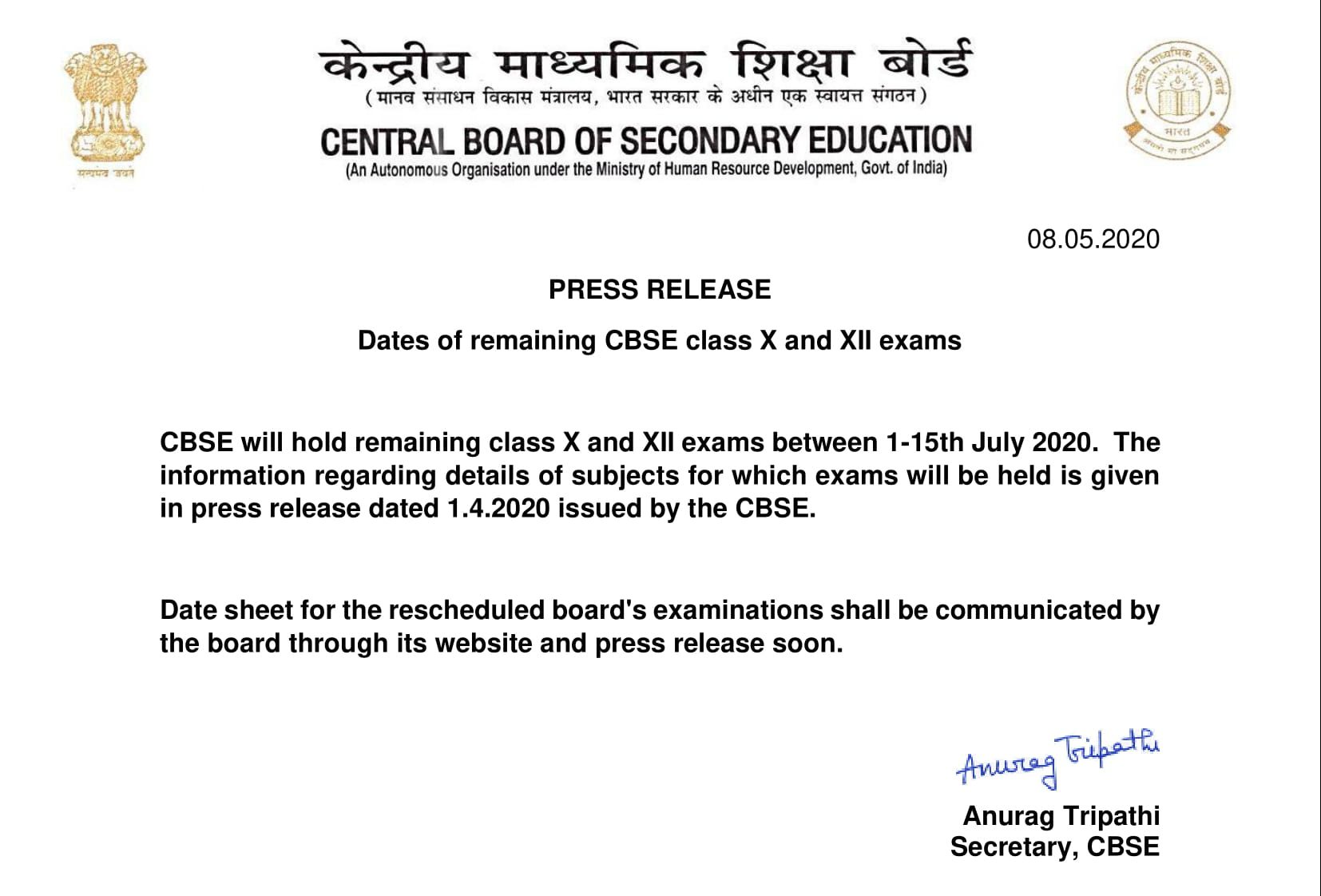 "Press release of cbse regarding the ""Dates of remaining CBSE class X and XII exams""-1"