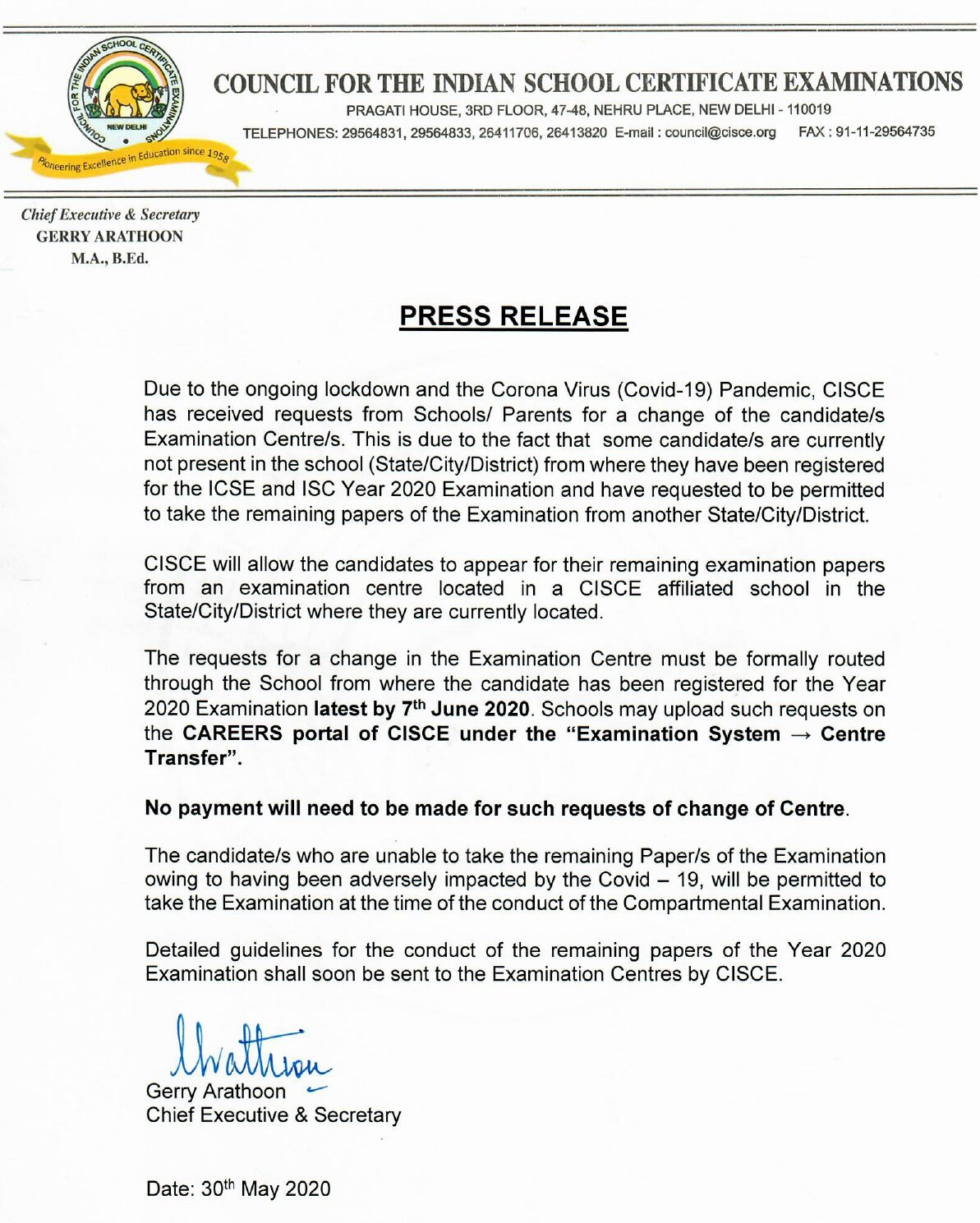 press release 30 MAY 2020 CISCE BOARD